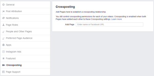 Facebook - Crossposting