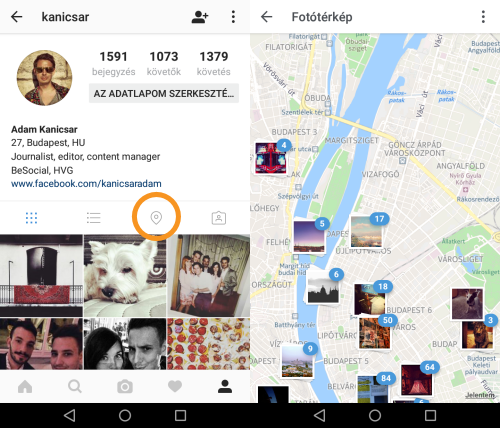 Instagram - Térkép