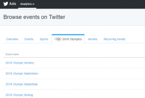 Twitter - Ads Management - Event Targeting - Olimpia - Rio 2016