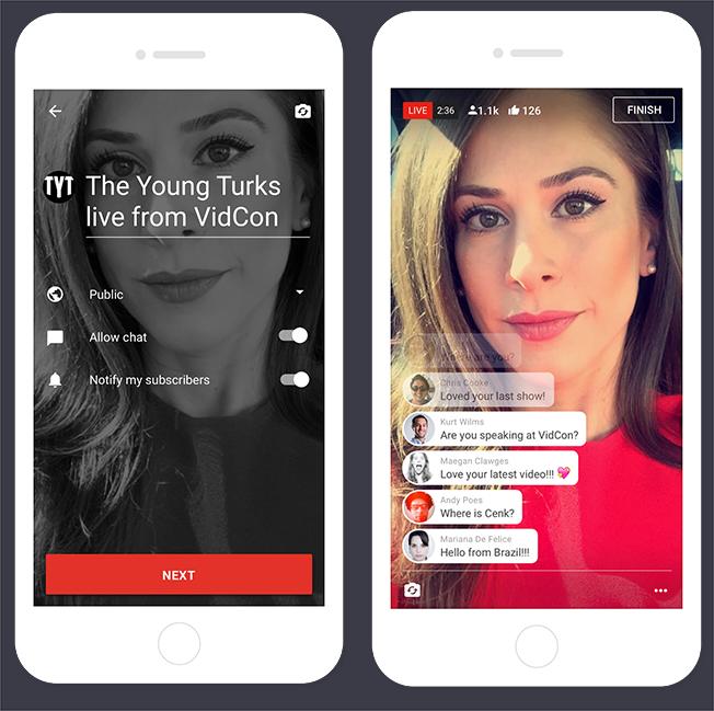 A YouTube applikációjában erősít az élő közvetítésben