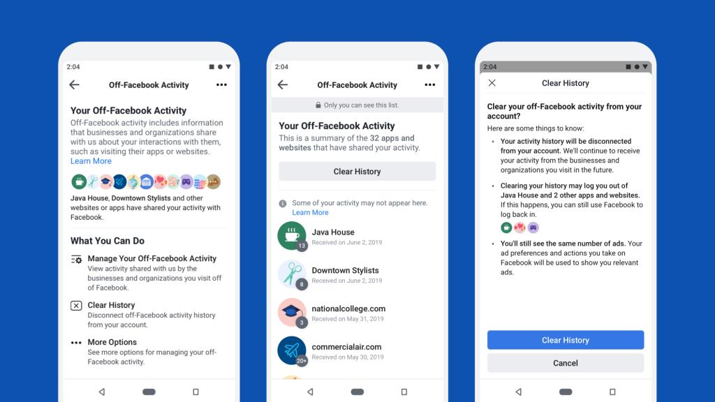 Facebook előzmények