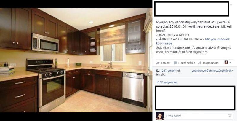 Állítólag ezt a konyhabútort lehet megnyerni, ha lájkoljuk az oldalt és megosztjuk a képet.